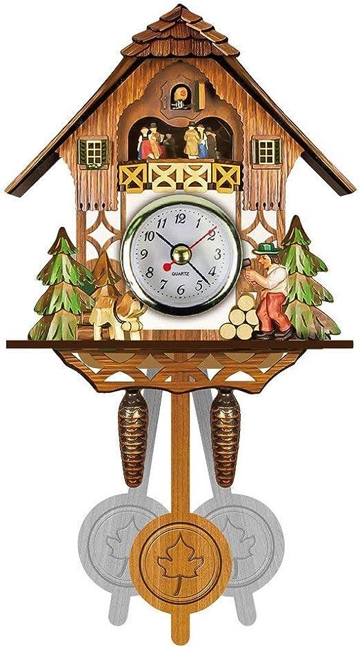 DIYARTS Wall Clock Black Bird House Antique Wooden Minimalist Cuckoo Clock Creative Swing Bird Wall Clock for Home Office Decor
