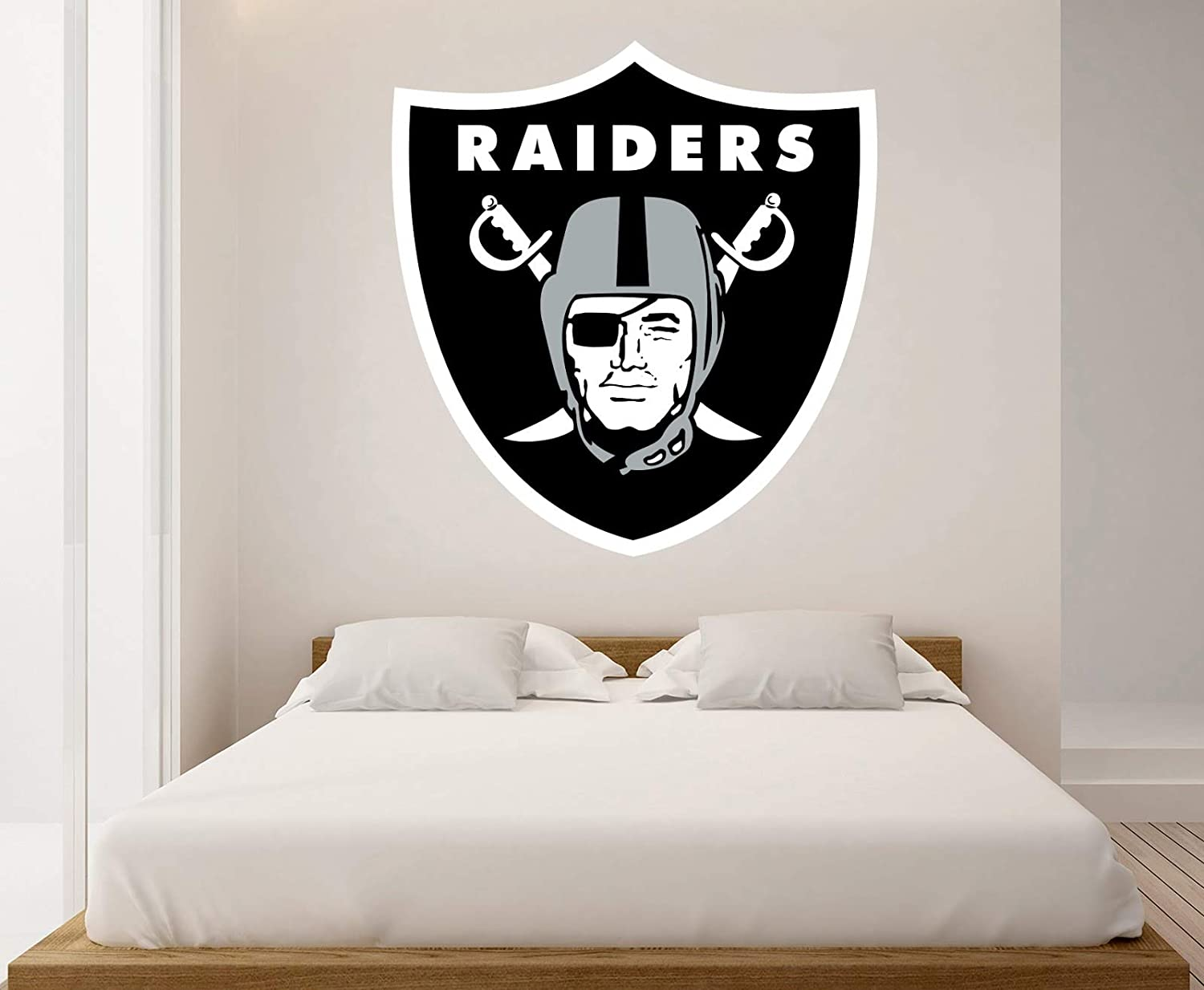 American Football Team Logo Raiders - Removable Wall Decal Vinyl for Home Decoration (20x21)