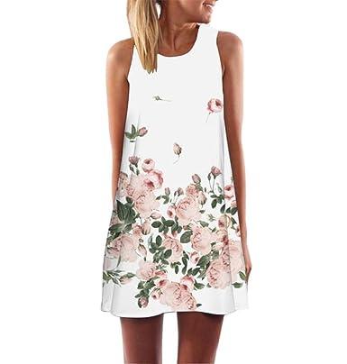 ZEZKT 3D Floral Print Sommerkleid Strand Blumen Kleider Abendkleid ...