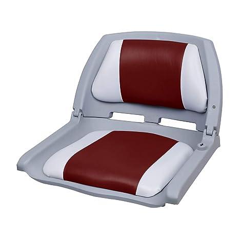[pro.tec] Asiento de barco / silla de barco - plegable y tapizado [rojo- blanco] piel sintética