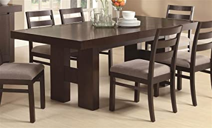 Wood Dining Table With Pull Out Extension Leaf In Cappuccino Finish