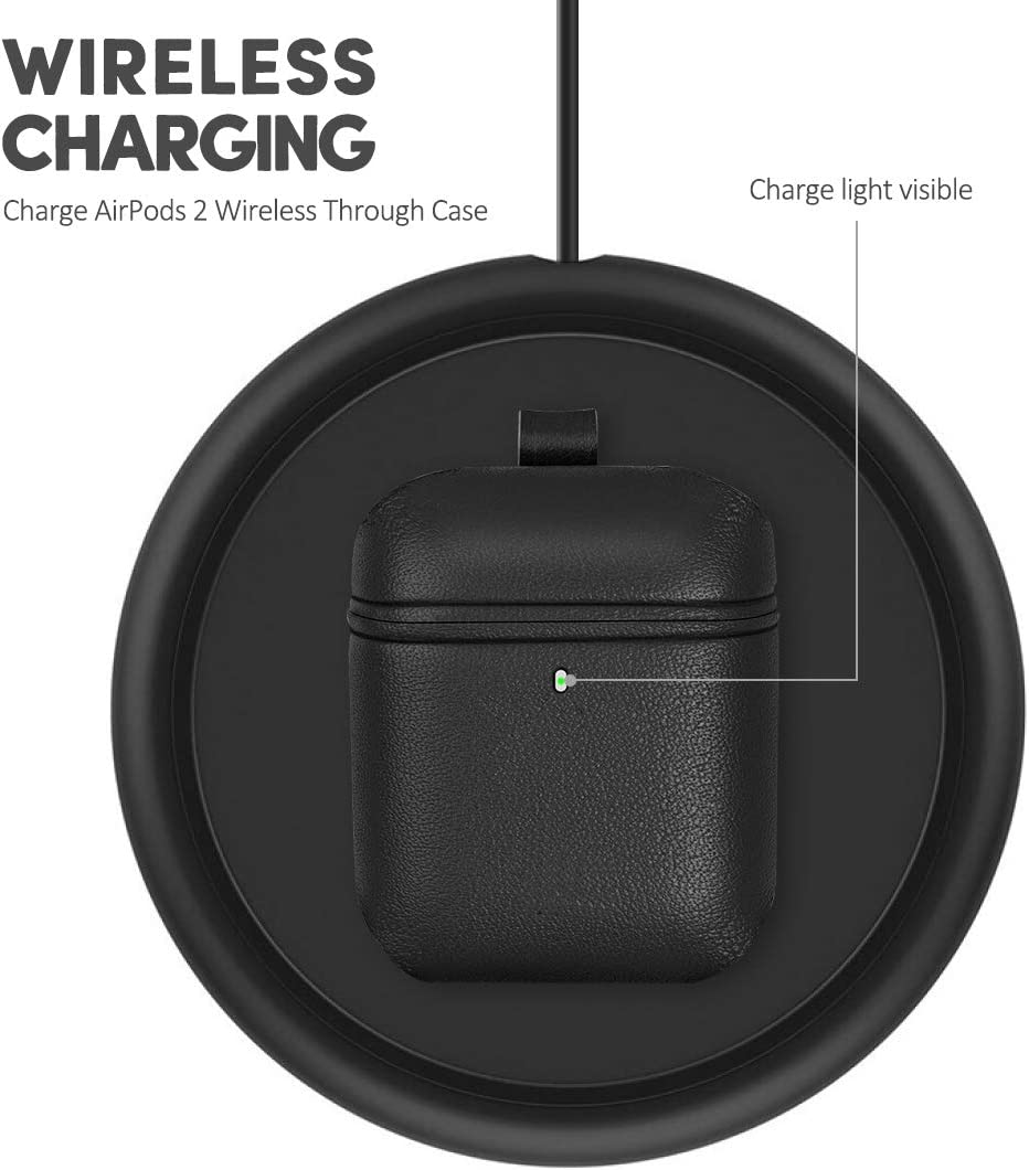 Black AirPods Leather Case with Keychain XGUO Genuine Leather Portable Cover for Airpods 2 Handmade Protective Charging Case Compatible with Air Pods 2 Wireless Charging