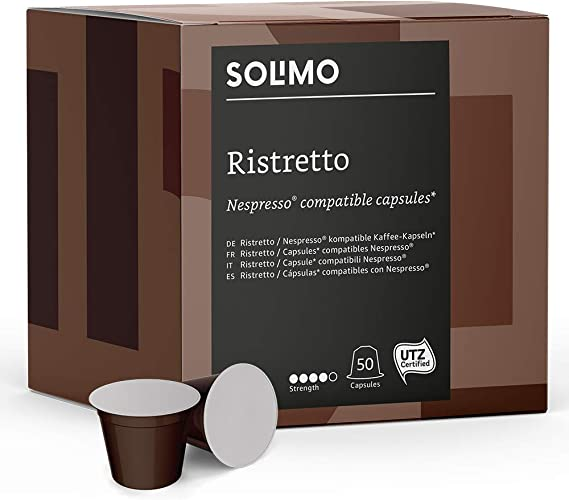 Marca Amazon - Solimo Cápsulas Ristretto, compatibles con ...