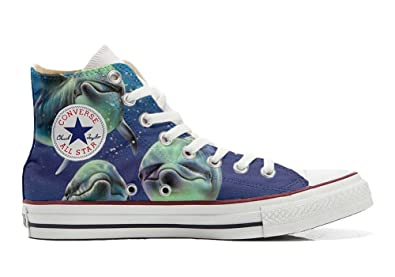 Converse Original CUSTOMIZED with printed Italian style (handmade shoes) with 3 dolphins posing