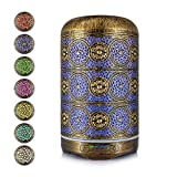 Bligli 250ML Aromatherapy Diffuser for Essential Oils,Delicate Metal Patterns Design with 7 Color Lights 4 Time Setting Modes Waterless Auto Shut Off