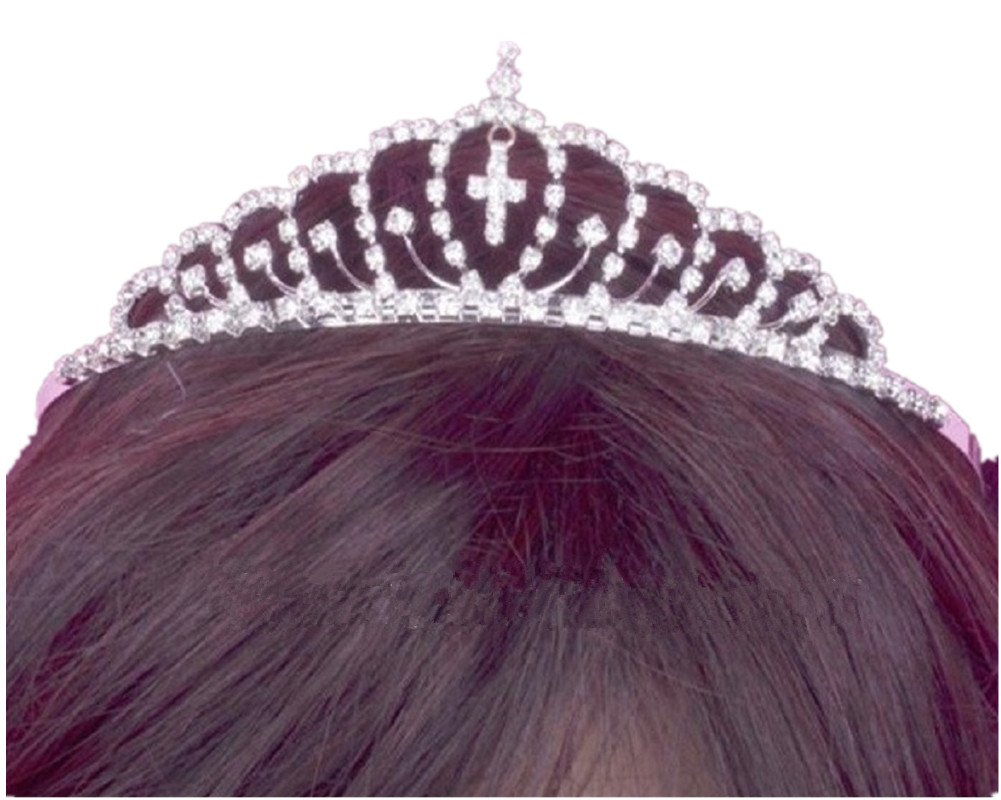 Shop Ginger Wedding Girls Silver Rhinestone First Communion Cross Tiara Crown (A)