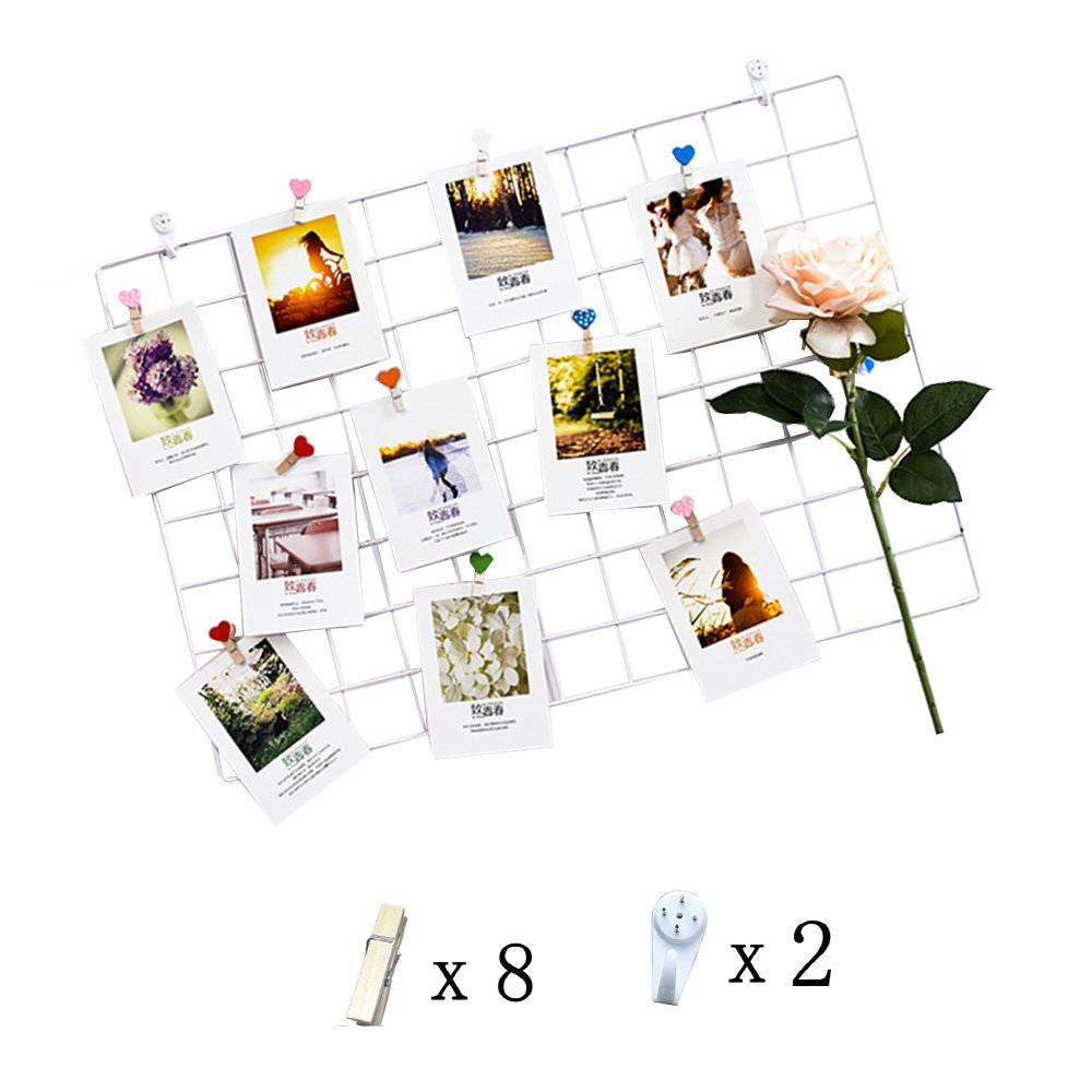 Iron Grid Panel Photo Wall Multifunction Metal Mesh Wall Decor/Hanging Photo Wall/Wall Art Display & Organizer (65x45cm)Diy (White) by Amazon