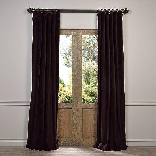VCCH-3150208-96 Vintage Cotton Velvet Curtain, Espresso Caponata, 50 x 96
