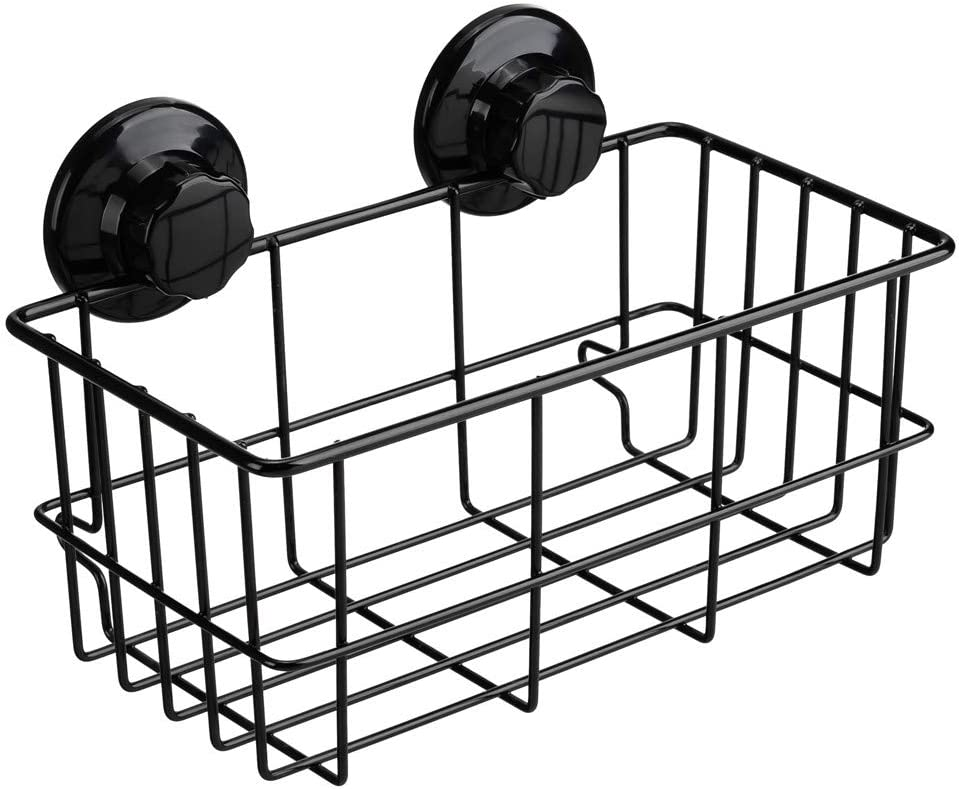 SANNO Adhesive & Suction Shower Caddy, Deep Bathroom Basket Suction Cup Large Shower Caddy Bath Organizer Kitchen Storage Basket for Gel Holder Bathroom Storage Shampoo, Conditioner