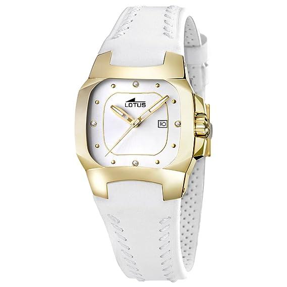 Reloj Mujer Lotus Code L15517/K correa de cuero blanco y caja dorada: Lotus: Amazon.es: Relojes