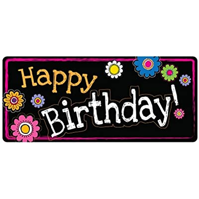 Car Magnet Happy Birthday Floral Magnetic Decal Sign for Car, Office or Fridge, 12 Inch (Black): Automotive
