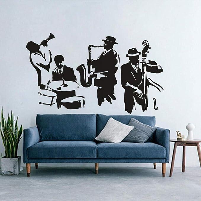 comprar BGNH Vinilo Adhesivo de pared Herramientas de instrumentos musicales Murales de pared Tambores Saxofón bajo Calcomanía de pared Art M ic Band 71x42cm