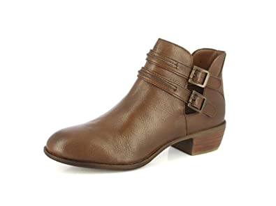 Women's Leather Boot Buckle Straps Stacked Low Heel Ankle Booties