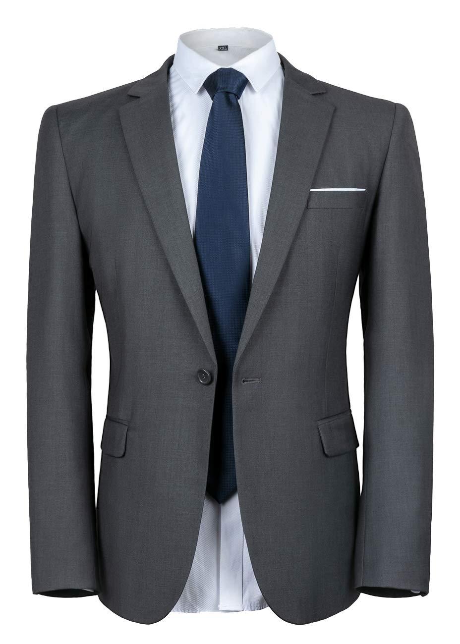 WULFUL Men's Suit Jacket One Button Slim Fit Sport Coat Casual Blazer Jacket Dark Grey by WULFUL