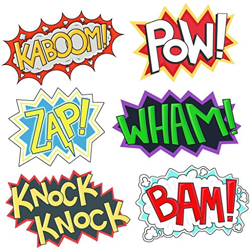Superhero Party Cardboard Superhero Sounds Sayings Word Cutouts ( 6 different pcs in 1), 16,5''x 11'' per word, BAM POW WHAM ZAP KABOOM KNOCK-KNOCK, Superhero theme birthday supplies]()