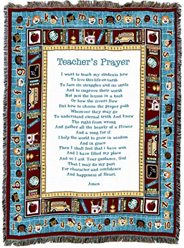 (Pure Country Weavers | Teachers Prayer Gift Woven Tapestry Throw Blanket with Fringe Cotton USA 72x54)