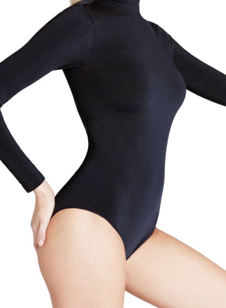 Falke Shining Rich Cotton Long Sleeved Bodysuit-Black-XLarge