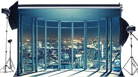 GzHQ 5X3FT Vista Fondo una habitación Vista pájaro Vista Nocturna los Edificios Desde los Rascacielos Ventanas Gran Altura Paisaje Urbano Fotografía Fondo para Oficina Bebé Boda Photo Studio Props: Amazon.es: Electrónica