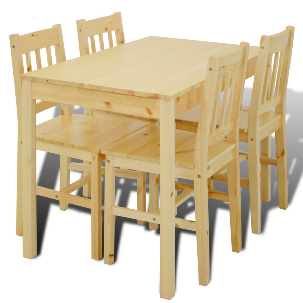 vidaXL 1 Wooden Table with 4 Wooden Chairs Home Dining Room Furniture Set White