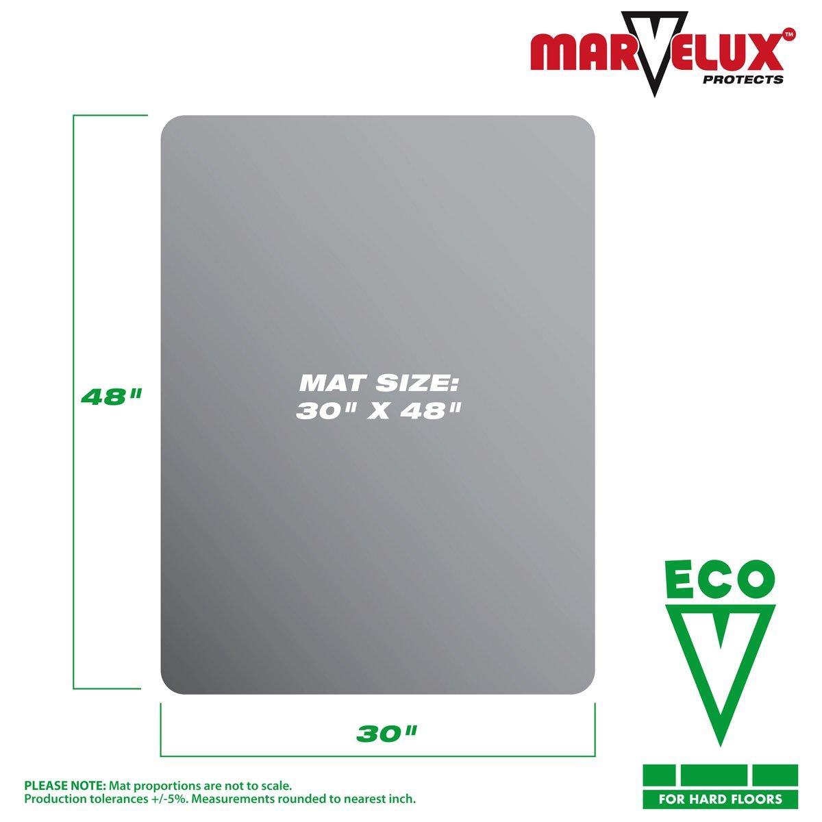 Marvelux 30 x 48 ECO Enhanced Polymer Rectangular Chair Mat for Hard Floors Transparent Hardwood Floor Protector Multiple Sizes