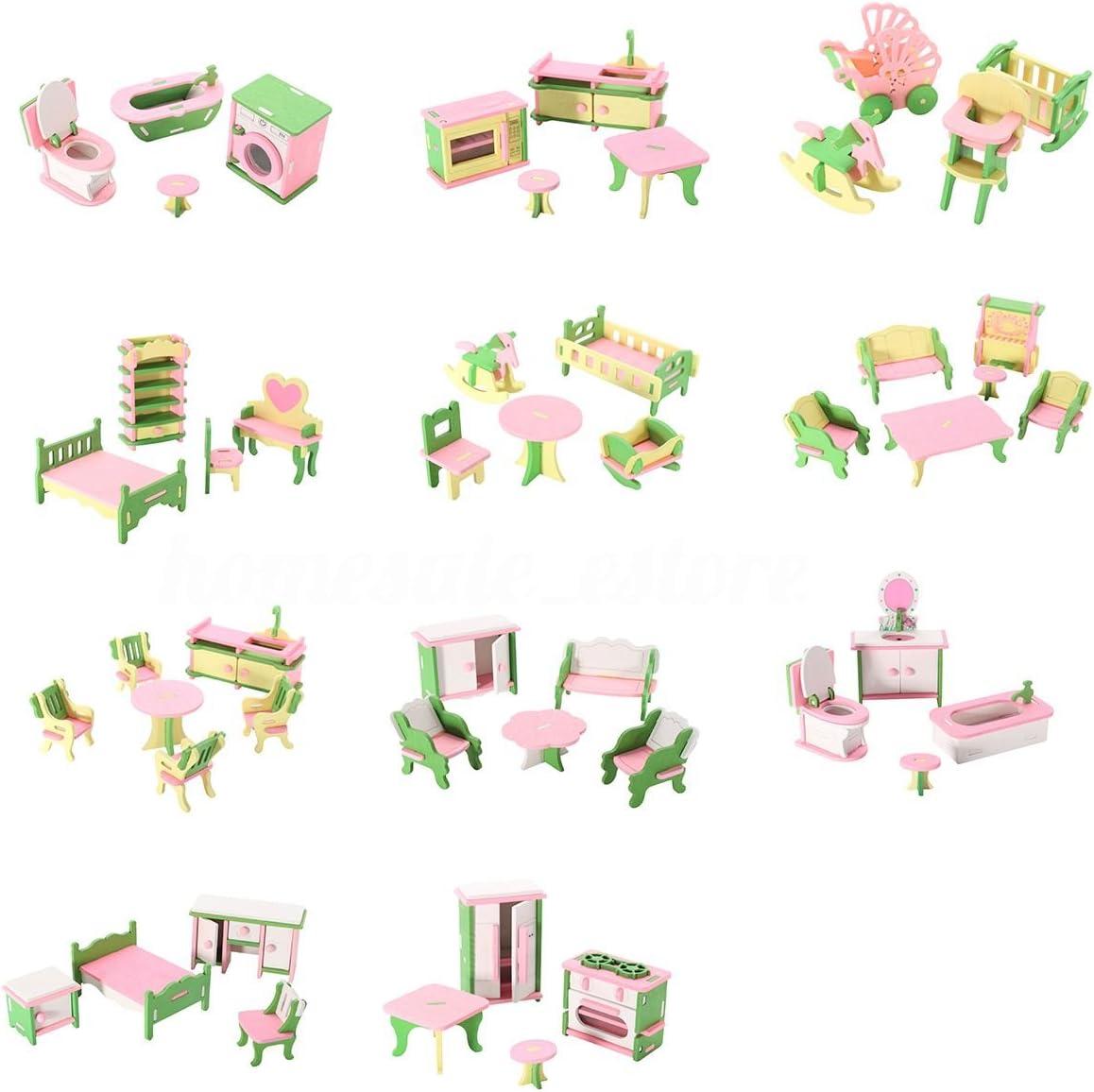 TOOGOO 49 piezas de 11 Juegos de Muebles de madera para bebes para Casa de munecas en miniatura Juguete de regalo para los ninos para jugar