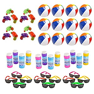 Mega Pool Party and Beach Party Favors - Summer Fun Toy Mega Assortment Bulk Pack of 48 Kids Toys Includes - Kids Sunglasses Party Favors, Inflatable Beach Balls, Water Gun Squirts and Bubbles