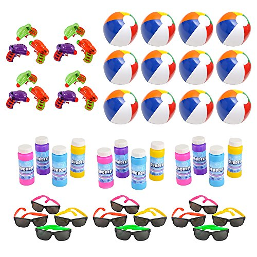 Mega Pool Party and Beach Party Favors - Summer Fun Toy Mega Assortment Bulk Pack of 48 Kids Toys Includes Neon Party Sunglasses, Inflatable Beach Balls, Water Gun Squirts and Bubbles
