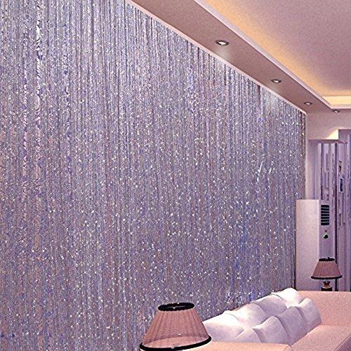 Kisstaker Glitter Tassel String Line Door Window Curtain Room Divider Screen Decor Home Textiles Window Treatments Purple