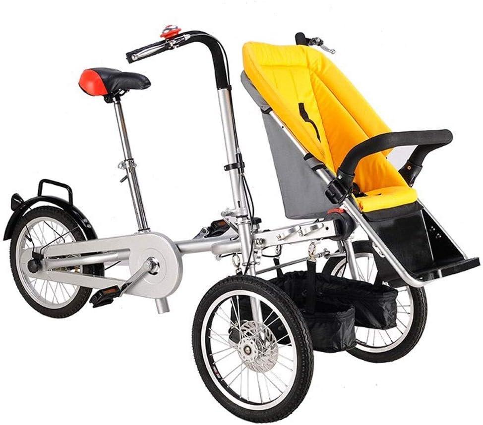 YUHT Bicicleta Infantil Bicicleta Plegable de 3 Ruedas para 1 bebé Adulto y Gemelos, Bicicleta Padre-Hijo, Cochecito de bebé 2 en 1, 4 Modos descapotable Gratis Dos Asientos Usados para Unisex