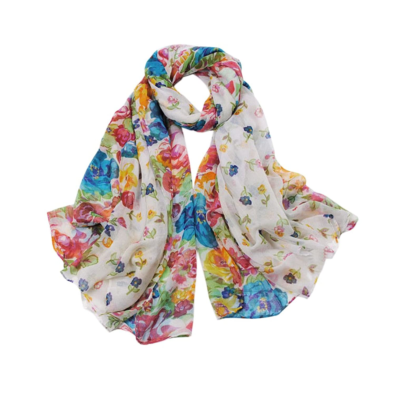 New Fashion Soft Women Long Floral Print Cotton Scarf Wrap Ladies Shawl - White