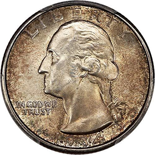 1934 D Washington Quarters (1932-98) Medium Motto Quarter MS66 PCGS