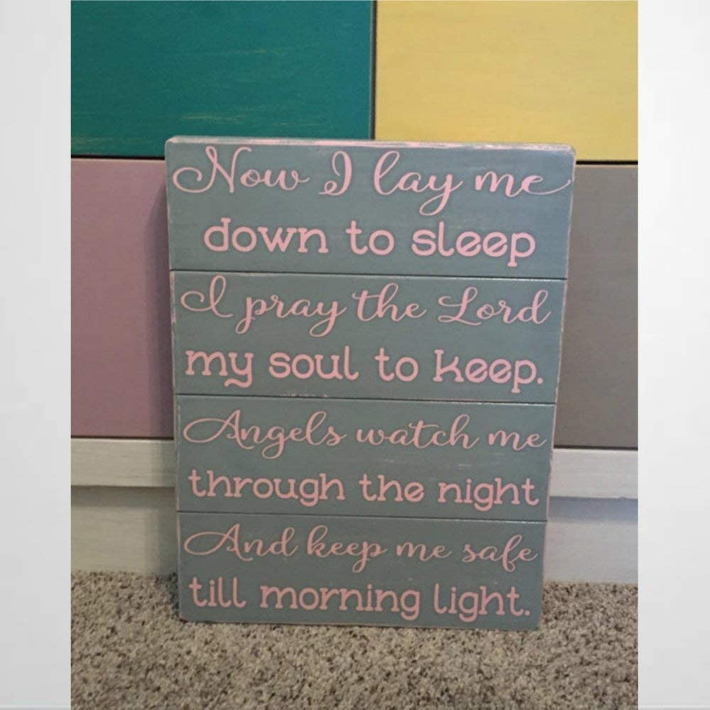 Wooden sign Now I Lay Me Down to Sleep Nursery Sign Girl Or Boys Prayer I Pray The Lord My Soul To Keep Shabby Chic Decor Baby Present Wood Plaque Wall Art Funny wood sign wall hanger Home Decor