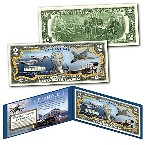 (F-4 PHANTOM II Jet Fighter-Bomber Vietnam War Genuine Legal Tender $2 U.S. Bill)