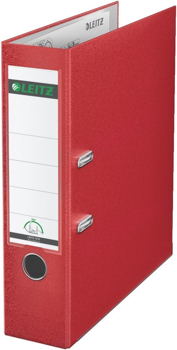 LEITZ 10105025 - Archivador de palanca plástico forrado 180º A4 DIN A4. Lomo 80 mm. color rojo