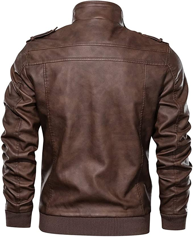 Mens Solid Imitation Leather Coat Autumn Winter Warm Vintage Zipper Stand Collar Long Sleeve Jackets Beautyfine