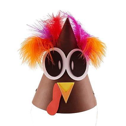 BESTOYARD Sombrero de Disfraces de acción de Gracias Turquía con Plumas  para niños y Adultos Sombrero 26403b565fc