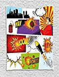 asddcdfdd Superhero Tapestry, Retro Comic Book Speech Bubbles Mock-Up Symbols Sound Effects Anger Brave Graphic, Wall Hanging for Bedroom Living Room Dorm, 60 W X 80 L Inches, Multicolor