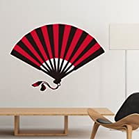 DIYthinker Japan Culture Japanese Style Red Fan Art Illustration Pattern Removable Wall Sticker Art Decals Mural DIY Wallpaper for Room Decal