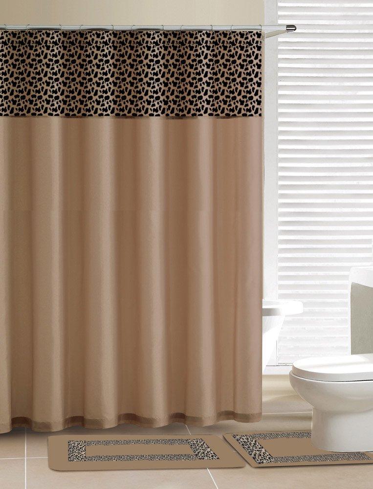 New Beige Leopard Animal Print, Contemporary Bath Shower Curtain 15 Pcs Modern Bathroom Rug Mat Contour Hook Set by Shower Curtains