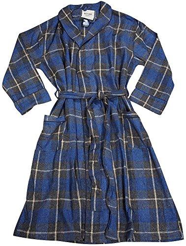 B O P J - Mens Long Sleeve Plaid Flannel Robe, Charcoal, Royal, Tan (Flannel Robe)