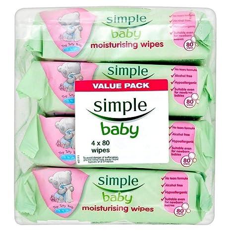 Simple Toallitas Hidratantes Bebé (80 Por Paquete X 4)