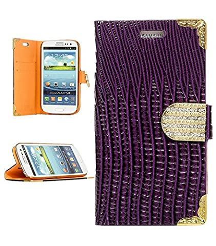 Galaxy S3, iSee Case (TM) Bling Sparkle Rhinestone Magnet Buckle with Lizard Print PU Leather Wallet Flip Cover Case for Samsung Galaxy S3 S III i9300 (S3-Angel Wing Bling Wallet (Wing Phone Covers)