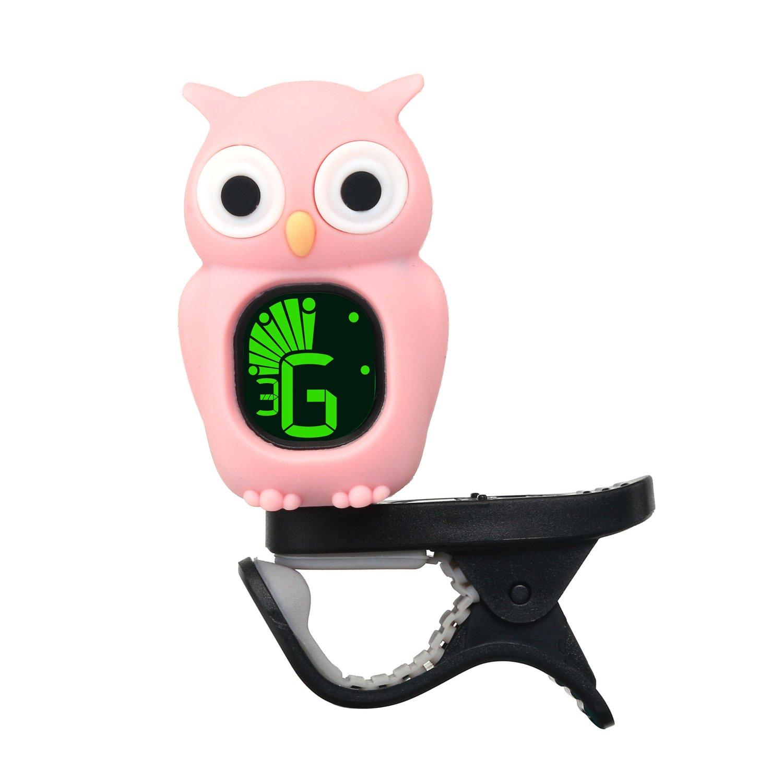Rinastore Clip-On Owl Tuner for Guitar, Bass,Ukulele & Violin (Black)