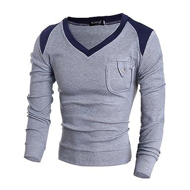 COCO clothing Otoño Invierno Cuello Pico Sweatshirt Hombre Suéter ...