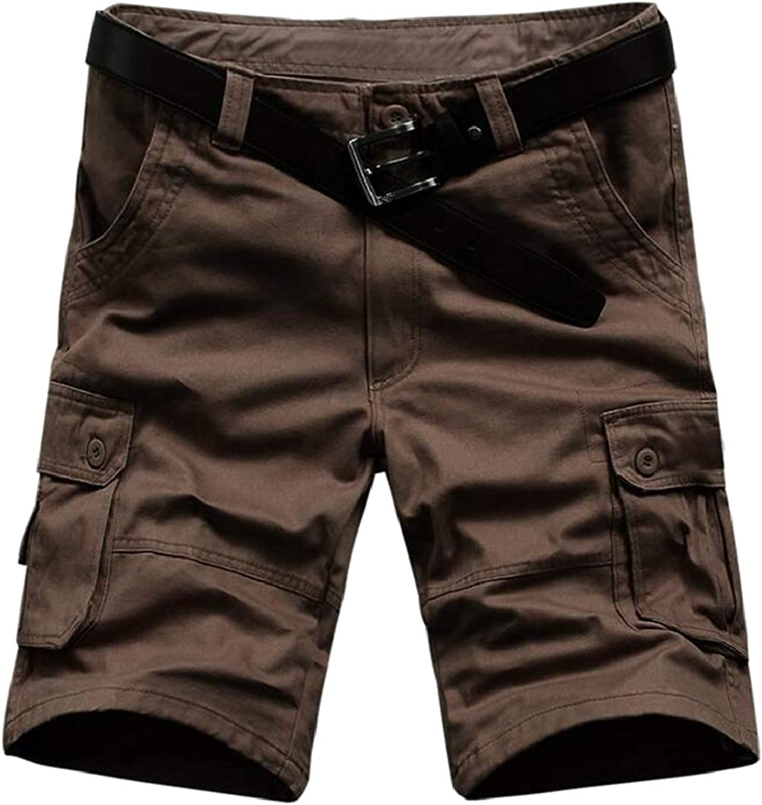 Suncolor8 Mens Multi Pockets Outwear Stylish Straight Leg Cotton Cargo Shorts