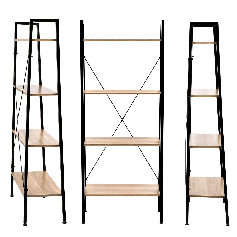Homekoko Vintage Wood 5ft 4-Tier Ladder Shelf Bookcase Storage Rack Shelves Plant Stand in Living Room,Bedroom,Kitchen,Balcony