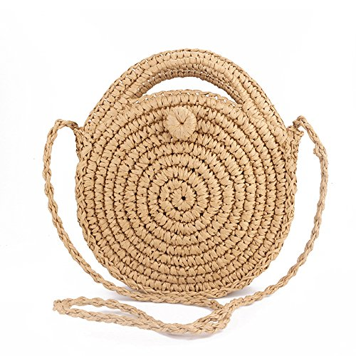 Teeya Straw Crossbody Bag Women Weave Shoulder Bag Round Summer Beach Purse and Handbags, Light Brown, Medium