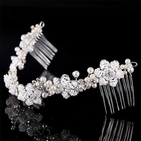 Kervinfendriyun Yy4 Bridal Handmade Beaded Headdress Silver Flower