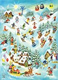 Skiing and Sledding Fun Advent Calendar Approx 10.5'' x 14'' (70114)