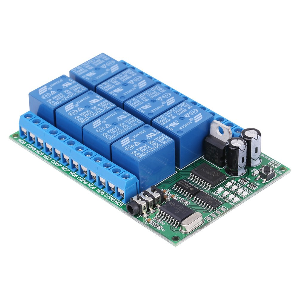 Hilitand Ad22a08 Dc 12v 8ch Dtmf Relay Phone Voice Signal Decoder This Uses A G8870 Receiver Chip To Decode Remote Controller Switch Module Industrial Scientific